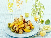 Grilled fruit with lemon butter