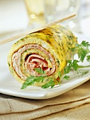 Rolled omelette with ham,curry and fresh herbs (topic : omelettes)