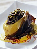 Potatoes stuffed with seaweed tartare, creamy saffron sauce