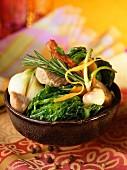Sautéed confit pork with winter vegetables