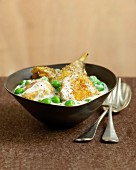 Guinea fowl fricassee with peas