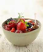 summer fruit and lemon thyme soup