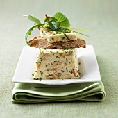 walnut cheese, mesclun and chive terrine
