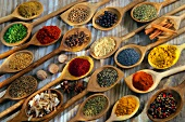 Seletion of spices in wooden spoons