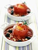 Tomatoes stuffed with eggs and goat cheese