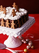Children's chocolate cake with whipped cream