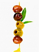 Olive brochette with olive oil