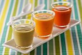 Verrines of assorted soups
