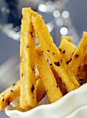 Polenta and olive chips