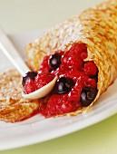Pancake with summer fruit