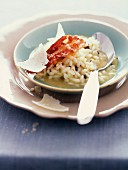 Creamy risotto with truffles and crunchy bacon