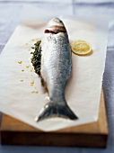 Bass with parsley and lemon