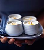 Pots of fresh yoghurt