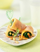 Smoked salmon,spinach and pine nut rolls