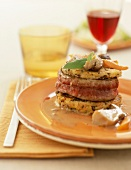 Tournedos and mushroom galette mille-feuille