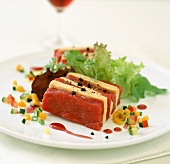 Raw beef and foie gras Mille-feuille