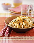 Rice salad with beansprouts, shrimps and carrots