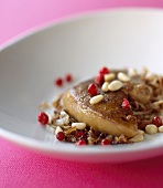 Pan-fried foie gras with pine nuts