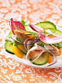 Cucumber,chicken and peach salad