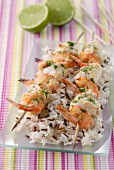 Monkfish and shrimp brochettes with curry and lime