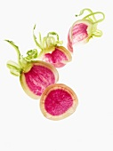 Fine slices of Japanese radishes