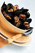 Mussels in a white wine broth with chorizo