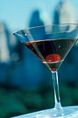 A Manhatten (cocktail with whisky and red Vermouth)