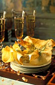 Yufka pastries filled with dill and oysters