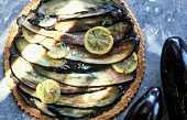 Provençal-style aubergine pizza with salted lemons and rosemary