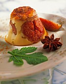 Crème caramel with figs