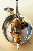 Pigeon and fruit skewer