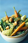 Pan-fried vegetables with hazelnuts