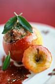 A baked apple filled with veal and Port wine sauce