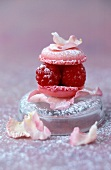 raspberry macaroon with rose petals