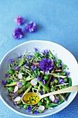 Asparagus shoot, pea and radish salad