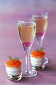 lychee champagne and trout roe with creamed cucumber