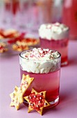 cotton candy syrup jelly with whipped cream and cookies