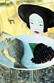 Sea bream with black rice