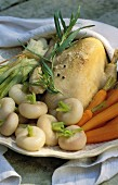 Chicken boiled with vegetables