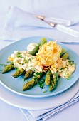 Green asparagus with egg in puff pastry