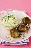 Aubergine caviar with meat balls