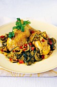 Chicken and vegetables with Colombo spices