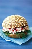 Prawn rillette and pink pepper sandwich