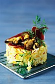 Rice timbale with mussels and saffron