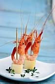 Mini comté shrimp skewers