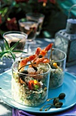 Bulghour salad with shrimps,capers, peppers and mussels