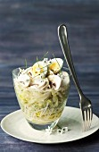 Verrine of sprouts with mushrooms,quail's eggs and bear's garlic