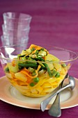 Tagliatelles with spring vegetables,pineapple and saffron