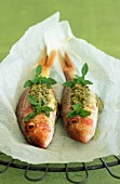 Papillote of surmullet with pesto