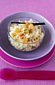 Rice pudding with honey,vanilla and currants
